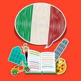 Concept of travel or studying Italian. Stock Photos