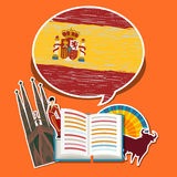 Concept of travel or studying Spanish. Royalty Free Stock Images