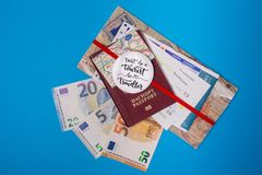 Concept - travel to Europe. Close-up on a blue background stock photography