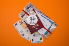 Concept - travel to Europe. Close-up on a orange background royalty free stock image