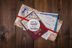 Concept - travel to Europe. Close-up on a wooden background stock photos