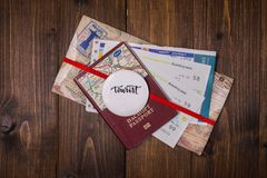 Concept - travel to Europe. Close-up on a wooden background royalty free stock photos