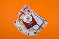 Concept - travel to Europe. Close-up on a orange background royalty free stock photo