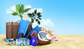 Concept travel to tropical countries Different objects on the be stock photos