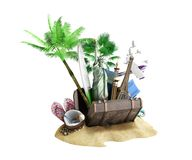 Concept of travel and tourism attractions and brown suitcase for. Travel 3D illustration on white no shadow Royalty Free Stock Photos