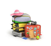 Concept travel travel bags and travel items Stock Photos