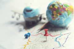 Concept of travel vacation trip and long weekend. Planning on map background stock image