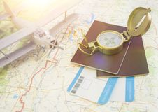 Concept travel. vintage golden compass, passport and boarding pass Royalty Free Stock Photos