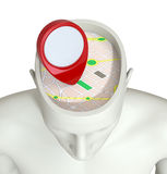Concept of traveling. One head of a manikin with a gps map and a pin inside it, concept of traveling (3d render Stock Image