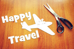 Concept of a travelling by the plane Stock Photos