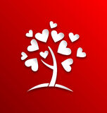 Concept of tree with heart leaves, paper cut style Royalty Free Stock Image