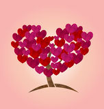 Concept of tree with heart leaves for Valentines Day Stock Photo