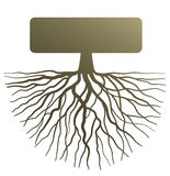 Concept with tree root. Conceptual illustration with silhouette of tree root Stock Photo
