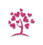 Concept of Tree with Shimmering Heart Leaves Royalty Free Stock Photography