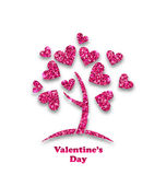 Concept of Tree with Shimmering Heart Leaves for Valentines Day Stock Photography