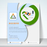 Concept of tri-fold flyer or template for business. Stock Photo