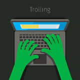 Concept of trolling in internet. Stock Photos