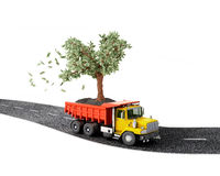 Concept, truck with a money tree Royalty Free Stock Photography