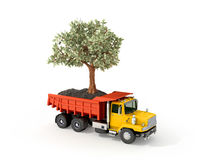Concept, truck with a money tree Stock Photography