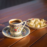Concept of turkish  coffee accessories Stock Photos