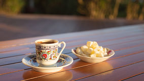 Concept of turkish  coffee accessories Royalty Free Stock Photo