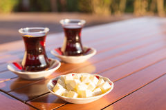 Concept of turkish tea accessories Stock Images