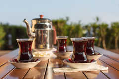 Concept of turkish tea accessories Stock Photography