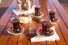 Concept of turkish tea accessories Royalty Free Stock Images