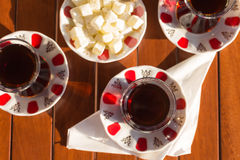 Concept of turkish tea accessories Stock Image