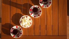 Concept of turkish tea accessories Stock Photos