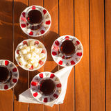 Concept of turkish tea accessories Royalty Free Stock Photos