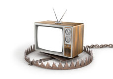 Concept of TV dependence. TV in the trap. TV as trap for crowd. 3d illustration Stock Photo