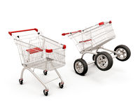 Concept two carts for a supermarket Royalty Free Stock Photography