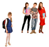 Concept. Two generation: student and schoolchild. Royalty Free Stock Photos