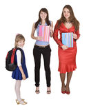 Concept. Two generation  student and schoolchild. Royalty Free Stock Photo