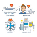 Concept - types of insurance, method  payment by credit card. Concept of vessel insurance, air, insurance agent and credit card payment. Vector illustrations Stock Image