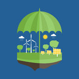 Concept of umbrella and earth with icons of ecolog Stock Image