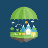 Concept of umbrella and earth with icons of ecolog Stock Photos