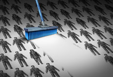 Concept Of Unemployment. And business downsizing symbol as a group of businesswomen and businessmen drawings being swept away by a broom as a symbol for Royalty Free Stock Photo