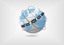 Concept of unified collaboration and communication. Vector illustration of globe with dotted world map and messaging and mail icons. Concept of unified Royalty Free Stock Images