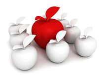 Concept of Unique Different Red Apple in White Set Stock Images