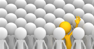 Concept of uniqueness. Orange character standing out from the crowd royalty free illustration