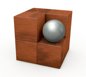 Concept of uniqueness. One wooden puzzle cube with a sphere instead of the last piece (3d render royalty free illustration
