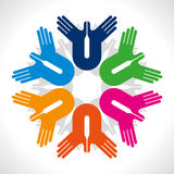 Concept of unity with hands icon Stock Images