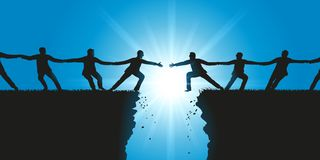 Two teams reach out over a chasm to unite against obstacles royalty free illustration