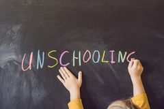 Concept Unschooling Home Learning Back To School Color Chalk on royalty free stock photo