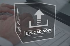 Concept of upload. Upload concept illustrated by a picture on background Stock Photos