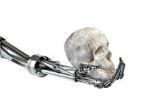 The concept of the uprising machines. Hand of the robot. And the human skull Stock Photos