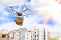 Concept of use of drones for the transport Royalty Free Stock Image