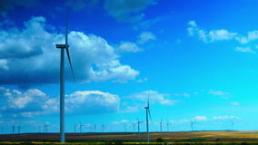 Concept Of Using Natural Resources Intelligently.Wind Turbines.Time Lapse, Zoom